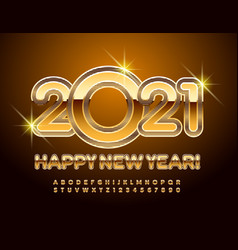 golden greeting card happy new year 2021 alphabet vector image