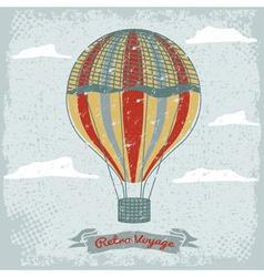 Grunge vintage hot air balloon in sky vector