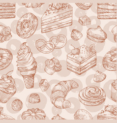 hand drawn pastries bakery desserts vector image