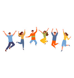 happy people jumping set young funny teens guy vector image