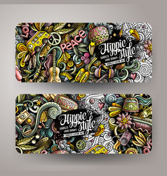 Hippie hand drawn doodle banners set cartoon vector