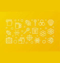 honey and beekeeping yellow outline banner vector image