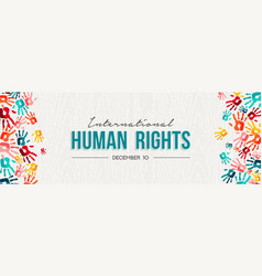 human rights card colorful people hand prints vector image