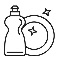 icon a clean dish and detergent vector image