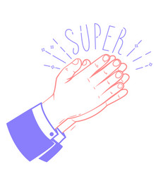 Icon clapping hands with the text super vector