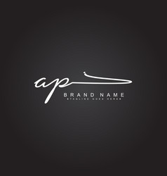 Initial letter ap logo - handwritten signature vector