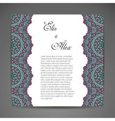 Invitation card with lace ornament vector image