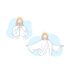jesus bible christianity pray set concept vector image