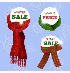 Knitted scarf sale card vector