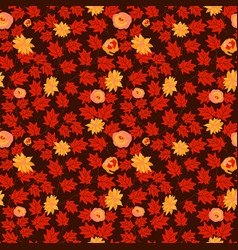 leaf autum seamless with flower pattern seamless vector image