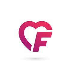 Letter F heart logo icon design template elements vector