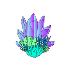 line art succulents and crystals vector image