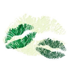 Lipstick kisses vector image