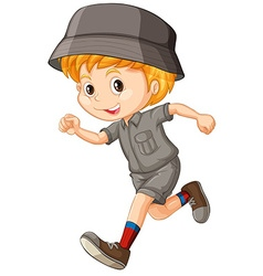 Little boy in camping outfit running vector