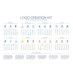 logo template creation kit fonts collection vector image
