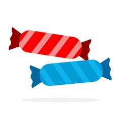 long candies in blue and red striped wrapper flat vector image