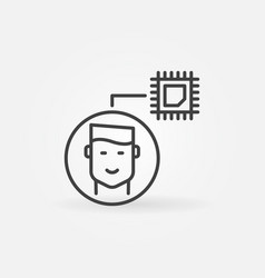 man with computer chip outline concept icon vector image
