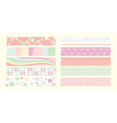 Masking tape cute set vector