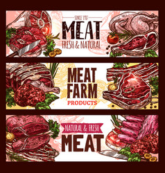 Meat fresh cut of beef and pork sketch banner set vector