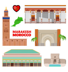 Morocco marakesh travel set with architecture vector