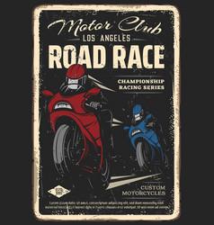 motorcycle club road race retro poster vector image