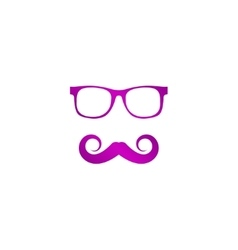 Mustache and Glasses icon vector image