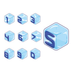 Numbers ice cubes style on white background vector