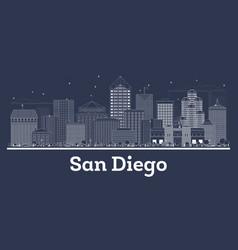 outline san diego california city skyline with vector image