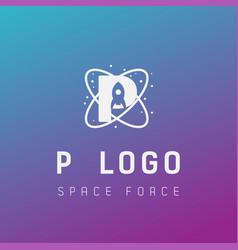 P initial space force logo design galaxy rocket vector