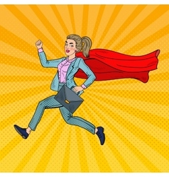 Pop Art Super Business Woman with Red Cape vector image