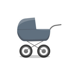 Pram with newborn little child isolated vector