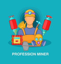 Professional miner concept cartoon style vector