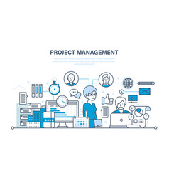 project management organization working process vector image