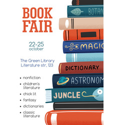 Promo poster for book fair with stack different vector