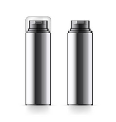 Realistic black cosmetic bottle can sprayer vector