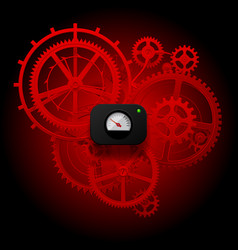 Red gear wheels of clockwork with circular meter vector