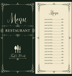 restaurant menu with price list in retro style vector image