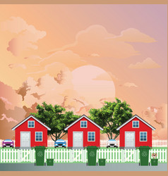 row residential houses recycling day at dawn vector image