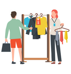 sale old collection clothes on hanger vector image