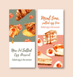 Salted egg flyer design with croissant cake vector
