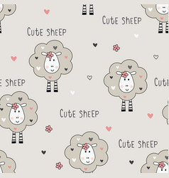 Seamless pattern with cute sheep vector
