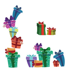 set christmas gifts in boxes collection of vector image