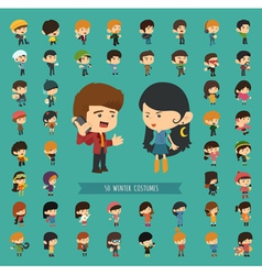 Set of 50 winter collection character vector