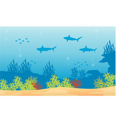 Silhouette of shark background on underwater vector