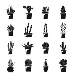Succulent and cactus icons set simple style vector
