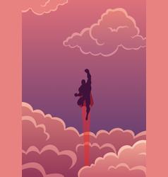 superhero in cloudscape vector image