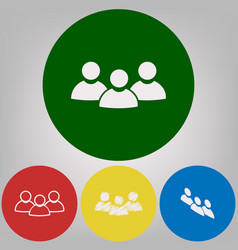 team work sign 4 white styles of icon at vector image