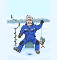 The fisherman on winter fishing vector