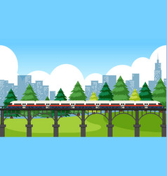 Train crossing through city vector
