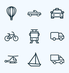 Transportation icons line style set with lorry vector